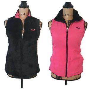 FILA Reversible Faux Fur Zipper Vest Pink/Black